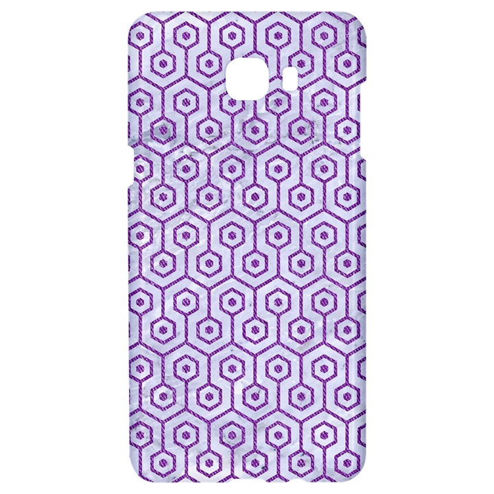 HEXAGON1 WHITE MARBLE & PURPLE DENIM (R) Samsung C9 Pro Hardshell Case