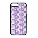 HEXAGON1 WHITE MARBLE & PURPLE DENIM (R) Apple iPhone 8 Plus Seamless Case (Black) Front