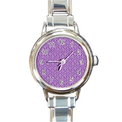 HEXAGON1 WHITE MARBLE & PURPLE DENIM Round Italian Charm Watch