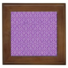 HEXAGON1 WHITE MARBLE & PURPLE DENIM Framed Tiles