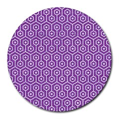 HEXAGON1 WHITE MARBLE & PURPLE DENIM Round Mousepads