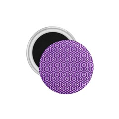 Hexagon1 White Marble & Purple Denim 1 75  Magnets by trendistuff