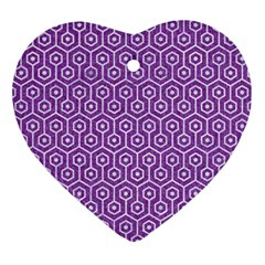 HEXAGON1 WHITE MARBLE & PURPLE DENIM Ornament (Heart)