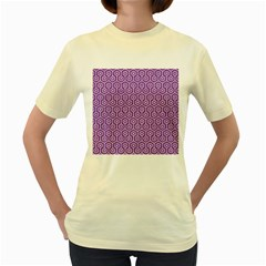 HEXAGON1 WHITE MARBLE & PURPLE DENIM Women s Yellow T-Shirt