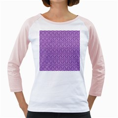 HEXAGON1 WHITE MARBLE & PURPLE DENIM Girly Raglans