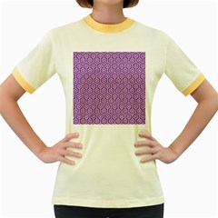 HEXAGON1 WHITE MARBLE & PURPLE DENIM Women s Fitted Ringer T-Shirts