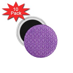 Hexagon1 White Marble & Purple Denim 1 75  Magnets (10 Pack)  by trendistuff