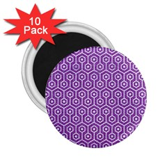 Hexagon1 White Marble & Purple Denim 2 25  Magnets (10 Pack)  by trendistuff