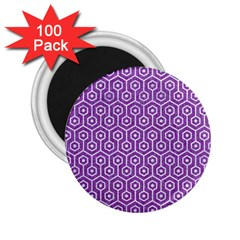 Hexagon1 White Marble & Purple Denim 2 25  Magnets (100 Pack)  by trendistuff