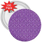 HEXAGON1 WHITE MARBLE & PURPLE DENIM 3  Buttons (100 pack)  Front