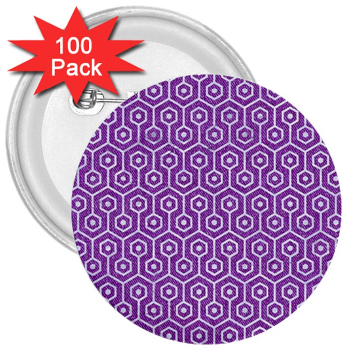 HEXAGON1 WHITE MARBLE & PURPLE DENIM 3  Buttons (100 pack)