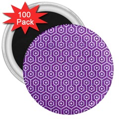 Hexagon1 White Marble & Purple Denim 3  Magnets (100 Pack) by trendistuff