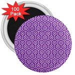 HEXAGON1 WHITE MARBLE & PURPLE DENIM 3  Magnets (100 pack) Front