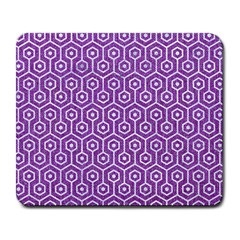HEXAGON1 WHITE MARBLE & PURPLE DENIM Large Mousepads