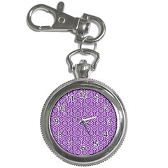 HEXAGON1 WHITE MARBLE & PURPLE DENIM Key Chain Watches