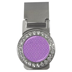 HEXAGON1 WHITE MARBLE & PURPLE DENIM Money Clips (CZ)