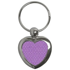 HEXAGON1 WHITE MARBLE & PURPLE DENIM Key Chains (Heart)