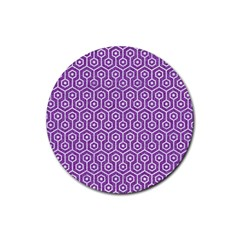 HEXAGON1 WHITE MARBLE & PURPLE DENIM Rubber Coaster (Round)