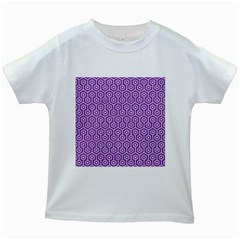 Hexagon1 White Marble & Purple Denim Kids White T Shirts by trendistuff