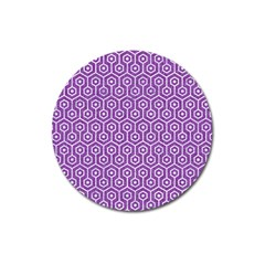 Hexagon1 White Marble & Purple Denim Magnet 3  (round) by trendistuff