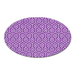 Hexagon1 White Marble & Purple Denim Oval Magnet by trendistuff