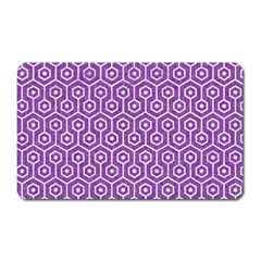 Hexagon1 White Marble & Purple Denim Magnet (rectangular) by trendistuff