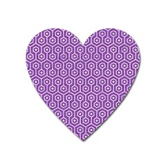 Hexagon1 White Marble & Purple Denim Heart Magnet by trendistuff