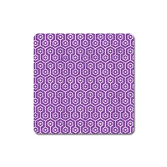 Hexagon1 White Marble & Purple Denim Square Magnet by trendistuff