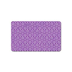 Hexagon1 White Marble & Purple Denim Magnet (name Card) by trendistuff