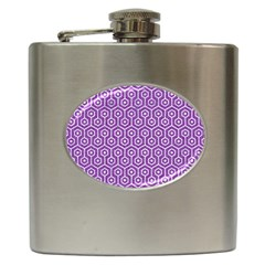 HEXAGON1 WHITE MARBLE & PURPLE DENIM Hip Flask (6 oz)