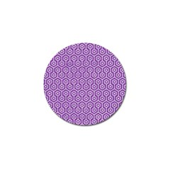HEXAGON1 WHITE MARBLE & PURPLE DENIM Golf Ball Marker