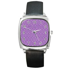 HEXAGON1 WHITE MARBLE & PURPLE DENIM Square Metal Watch