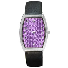 HEXAGON1 WHITE MARBLE & PURPLE DENIM Barrel Style Metal Watch