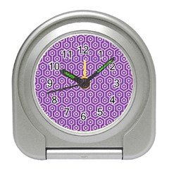 HEXAGON1 WHITE MARBLE & PURPLE DENIM Travel Alarm Clocks