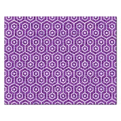 HEXAGON1 WHITE MARBLE & PURPLE DENIM Rectangular Jigsaw Puzzl