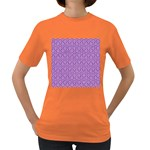 HEXAGON1 WHITE MARBLE & PURPLE DENIM Women s Dark T-Shirt Front