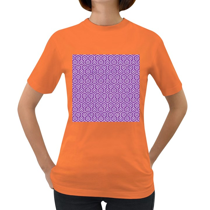 HEXAGON1 WHITE MARBLE & PURPLE DENIM Women s Dark T-Shirt