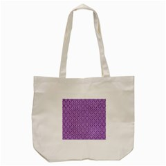 HEXAGON1 WHITE MARBLE & PURPLE DENIM Tote Bag (Cream)