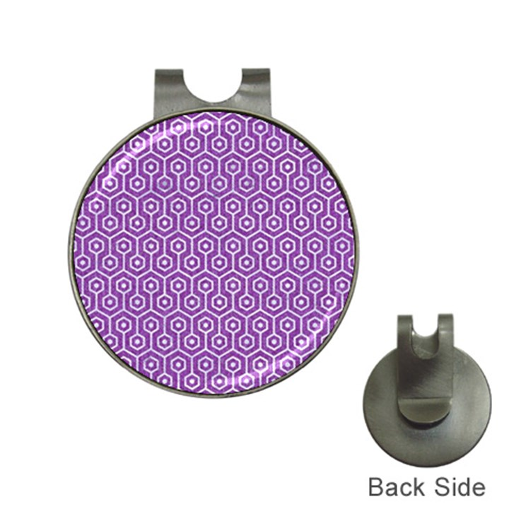 HEXAGON1 WHITE MARBLE & PURPLE DENIM Hat Clips with Golf Markers