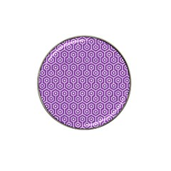 HEXAGON1 WHITE MARBLE & PURPLE DENIM Hat Clip Ball Marker (4 pack)