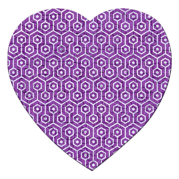 HEXAGON1 WHITE MARBLE & PURPLE DENIM Jigsaw Puzzle (Heart)