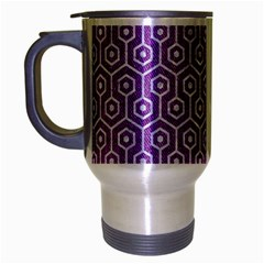 HEXAGON1 WHITE MARBLE & PURPLE DENIM Travel Mug (Silver Gray)