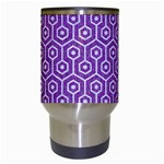HEXAGON1 WHITE MARBLE & PURPLE DENIM Travel Mugs (White) Center