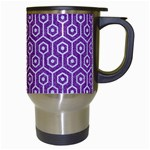 HEXAGON1 WHITE MARBLE & PURPLE DENIM Travel Mugs (White) Right