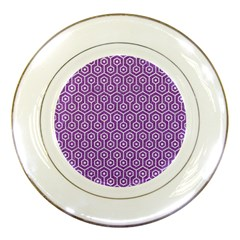 HEXAGON1 WHITE MARBLE & PURPLE DENIM Porcelain Plates