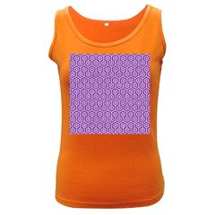 Hexagon1 White Marble & Purple Denim Women s Dark Tank Top