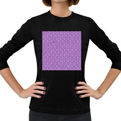 HEXAGON1 WHITE MARBLE & PURPLE DENIM Women s Long Sleeve Dark T-Shirts