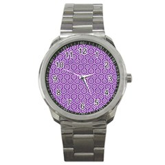 HEXAGON1 WHITE MARBLE & PURPLE DENIM Sport Metal Watch