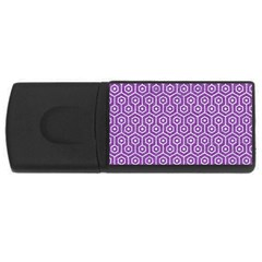HEXAGON1 WHITE MARBLE & PURPLE DENIM Rectangular USB Flash Drive