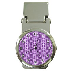 HEXAGON1 WHITE MARBLE & PURPLE DENIM Money Clip Watches